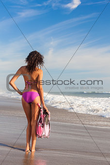 Rear View Beautiful Bikini Woman At Beach