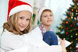 Siblings on Christmas