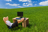 Business Woman Relaxing Office Desk Green Field