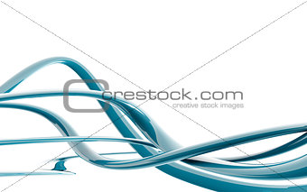 Abstract blue waves on white as a background