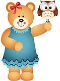 Girl Teddy Bear Holding Owl in Hand