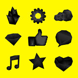 Black polygonal geometric symbols. Origami style. Set of design elements