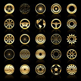 Gold wheels, gears, auto steering wheels, circular elements, abstract sphere
