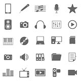 Media icons on white background