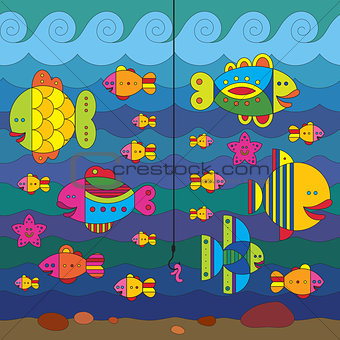 Stylize fishes and fishhook