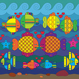 Seamless pattern with stylize fishes