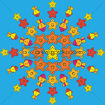 Round pattern with stylize fishes