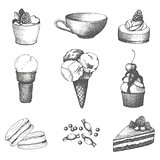 Vector set of hand drawn sweet and pastry