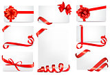 Set of gift cards with red gift bows with ribbons Vector