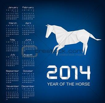 Calendar for the year 2014. Origami horse. Vector.