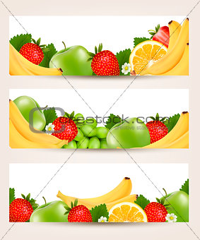 Three banners with delicious ripe fruit. Vector.