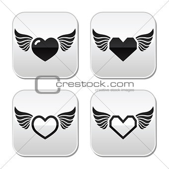 Heart with wings buttons set