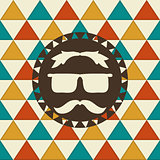 Vector Seamless Hipster Pattern and Hipster Label