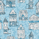 vector seamless pattern with houses and snowflakes