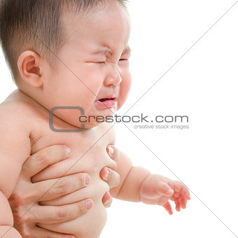 Sad Asian baby boy crying