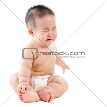 Crying Asian baby boy