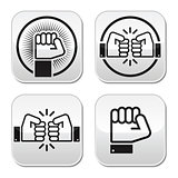 Fist, fist bump vector buttons set