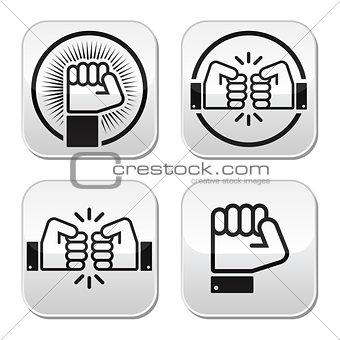 Fist, fist bump vector buttons set