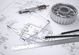 Glasses, ruler, compass, pencil and gear