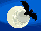 bat at night cartoon illustration