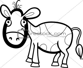 calf cartoon illustration for coloring book