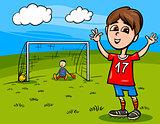 boy playing soccer cartoon illustration