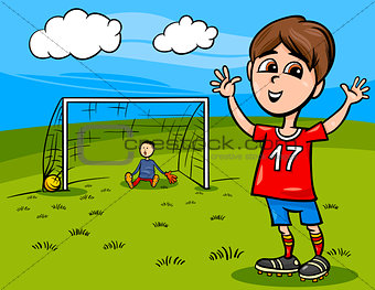 boy playing soccer cartoon illustration