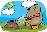 mole with shovel cartoon illustration