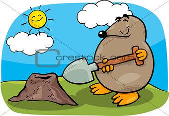 mole with shovel cartoon illustration