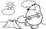mole cartoon illustration coloring page