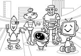 robots group cartoon coloring page