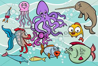 sea life animals group cartoon illustration