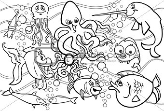 sea life animals group coloring page
