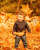 Small boy enjoying autumn nature
