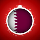 Merry Christmas Red Ball with Flag Qatar