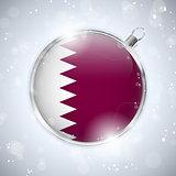 Merry Christmas Silver Ball with Flag Qatar
