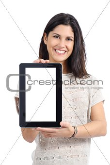 Attractive woman showing a big blank tablet screen