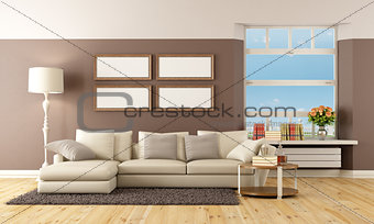 Beige and brown lounge