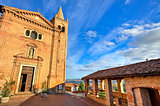 Church and small square. Monticello D'Alba, Italy.