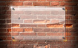 Glass Plate on Brick Wall Background