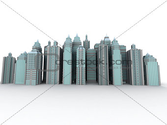 City. Three-dimensional background