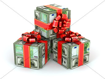 Money gift. Packs of dollars and euro and red ribbon.
