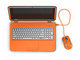 Orange laptop and computer mouse