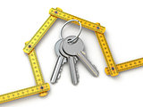 House from yardstick and bunch of keys.