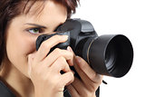 Beautiful photographer woman holding a digital camera