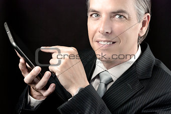 Businessman Uses Tablet