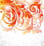 Floral ornamental card, autumn background