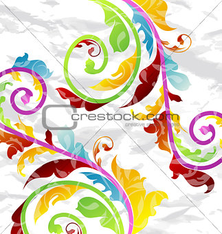 Abstract multicolor floral background, design elements