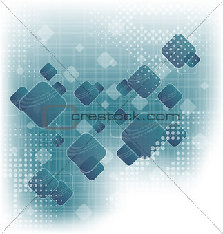 Abstract squares blank blue background