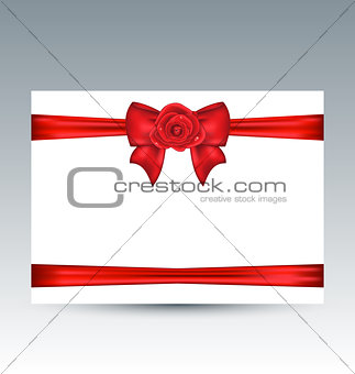 Celebration card with gift bow and rose